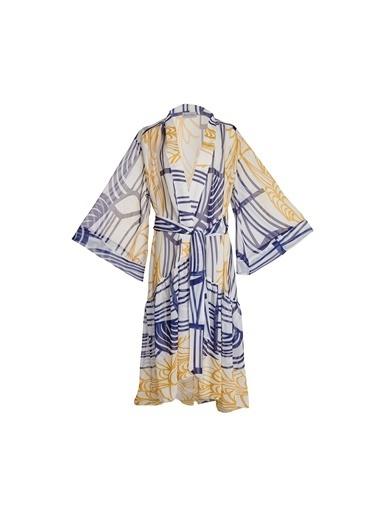 Women&Women Desenli Kimono Elbise, Plaj Giyim Beyaz